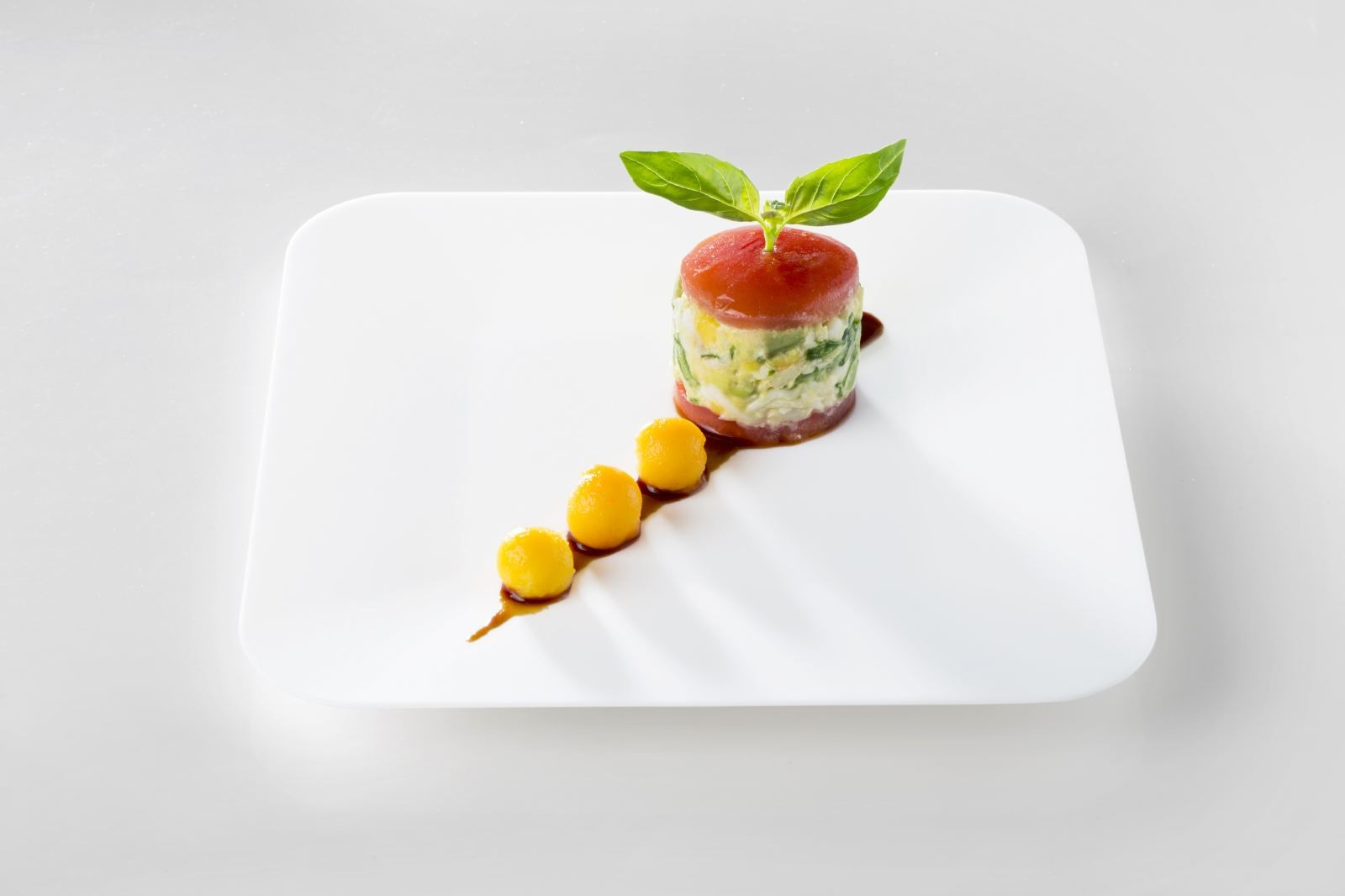 Vegetables and citrus fruits dish